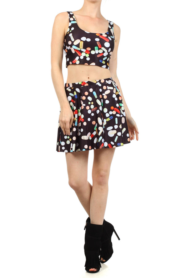 Chill Pill Skater Skirt - POPRAGEOUS  - 1