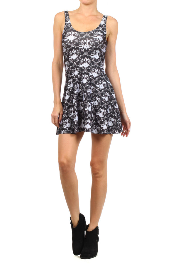 Gasmask Damask Skater Dress - POPRAGEOUS  - 2