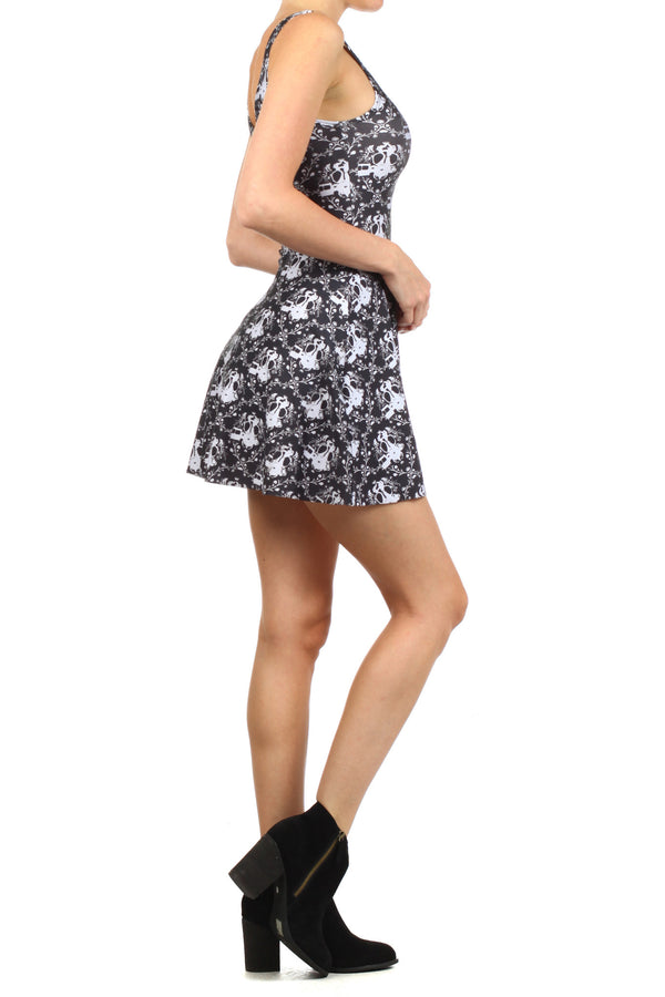 Gasmask Damask Skater Dress - POPRAGEOUS  - 3