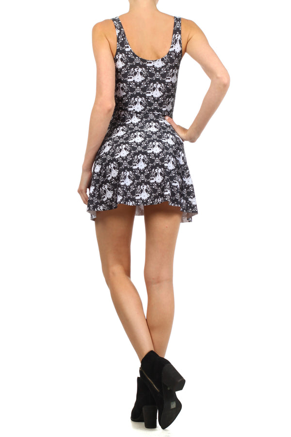 Gasmask Damask Skater Dress - POPRAGEOUS  - 4