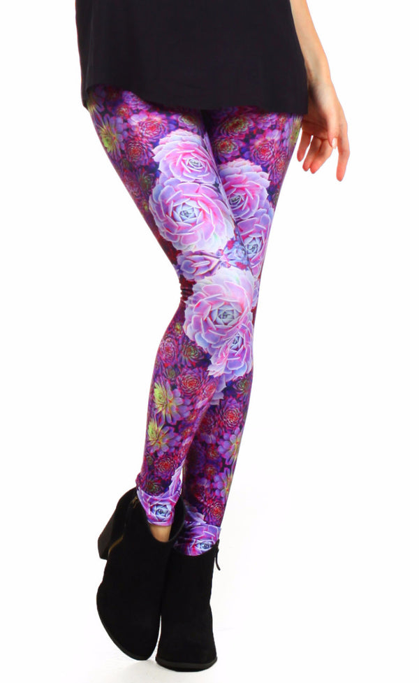 Purple Succulent Leggings - POPRAGEOUS  - 1