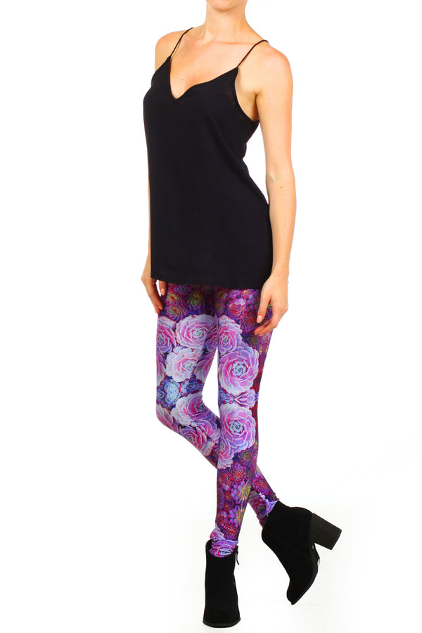 Purple Succulent Leggings - POPRAGEOUS  - 2