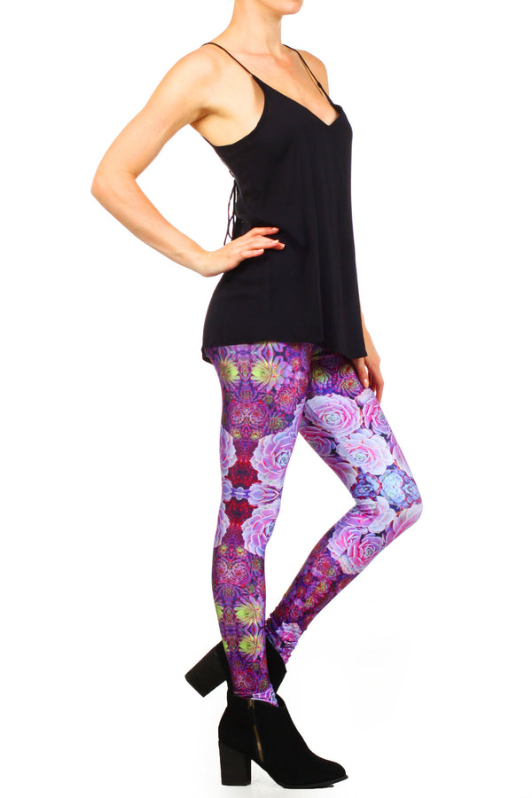 Purple Succulent Leggings - POPRAGEOUS  - 3