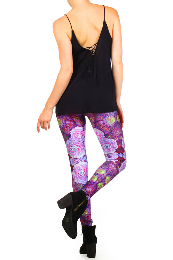 Purple Succulent Leggings - POPRAGEOUS  - 4