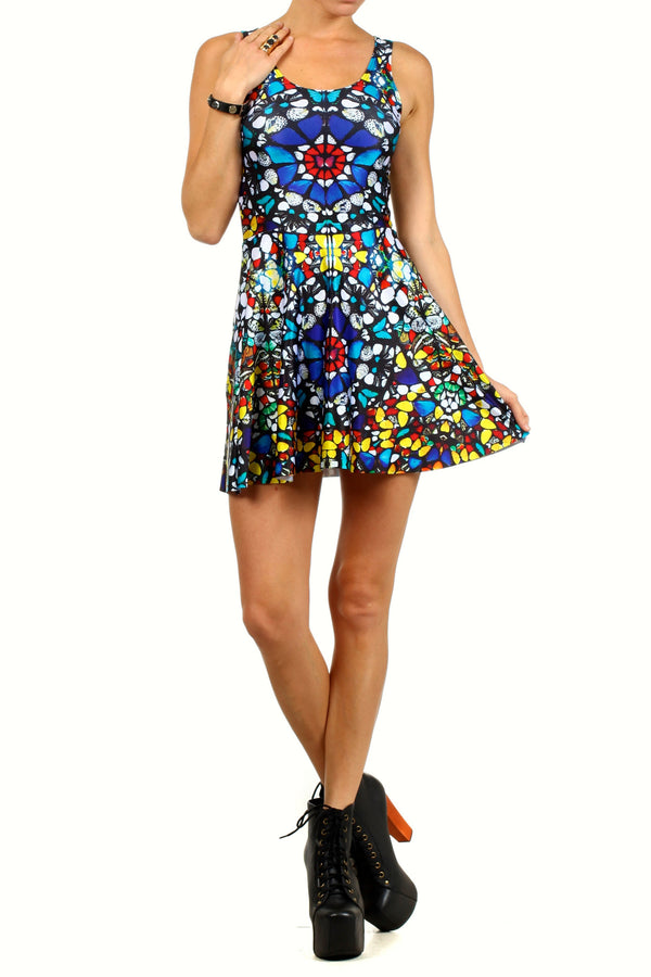 Glass Butterfly Skater Dress - POPRAGEOUS  - 1
