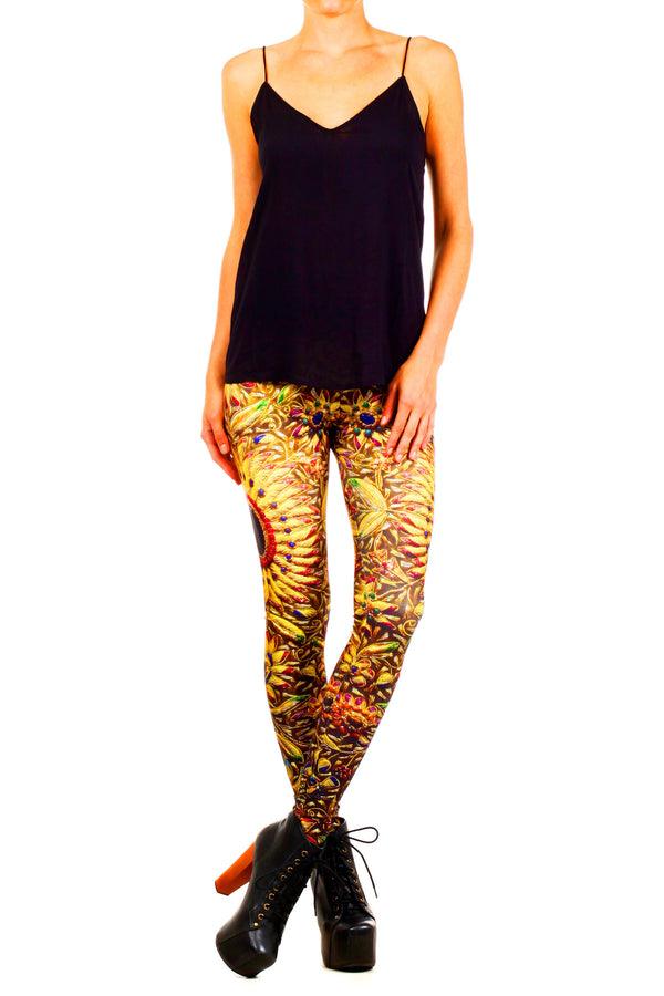 Kashmiri Jeweled Tapestry Leggings - POPRAGEOUS  - 1