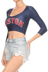 Boston Baseball Crop Top - POPRAGEOUS  - 3