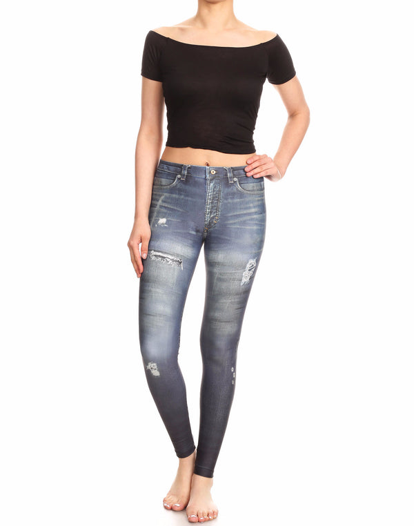 Fake Distressed Jeans - Blue