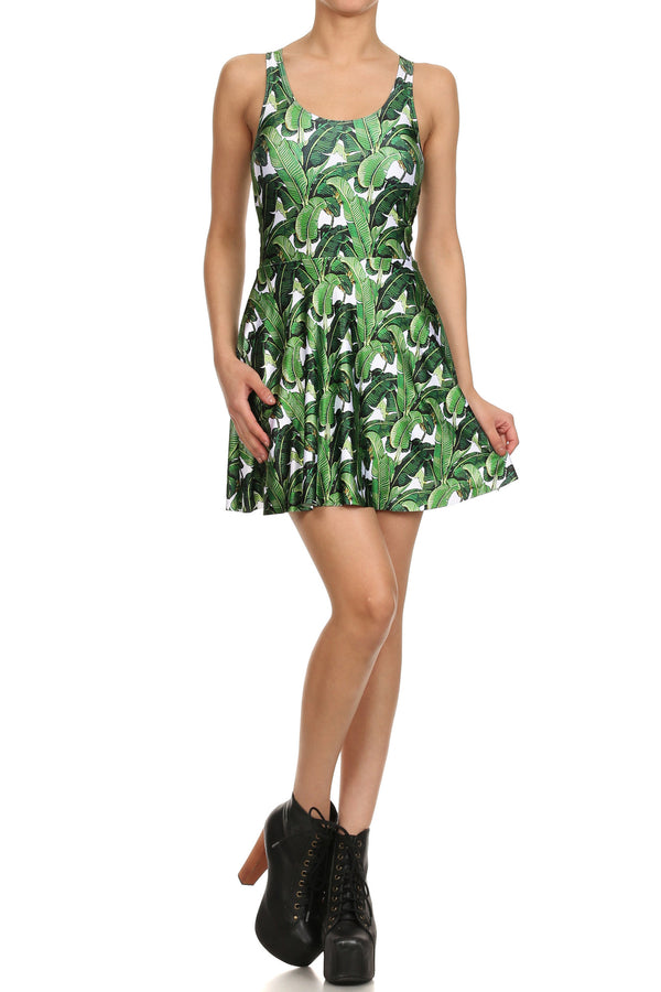 Banana Leaf Skater Dress - POPRAGEOUS  - 1