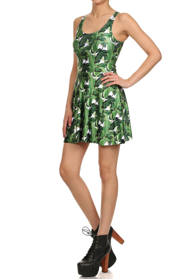 Banana Leaf Skater Dress - POPRAGEOUS  - 2