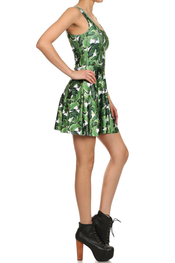 Banana Leaf Skater Dress - POPRAGEOUS  - 3