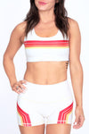 Retro Sunset Stripes Eggshell Yoga Shorts