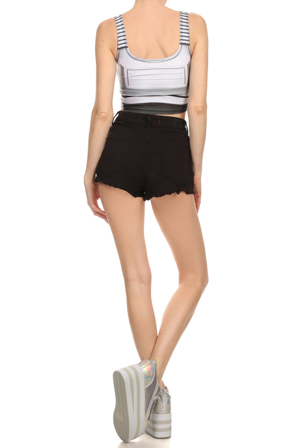 Robotic Crop Top - White - POPRAGEOUS  - 4