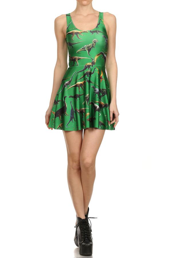 Dinosaur Skater Dress - Green - POPRAGEOUS  - 1
