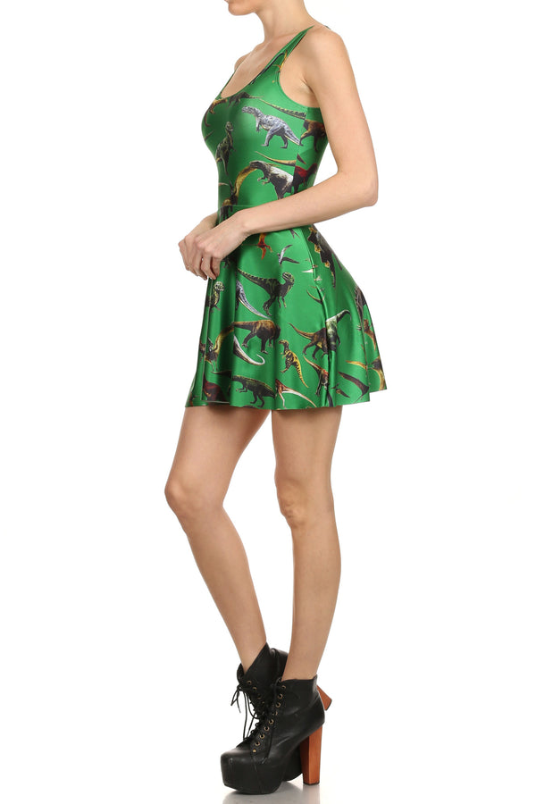 Dinosaur Skater Dress - Green - POPRAGEOUS  - 2