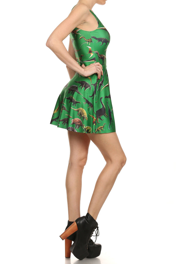 Dinosaur Skater Dress - Green - POPRAGEOUS  - 3
