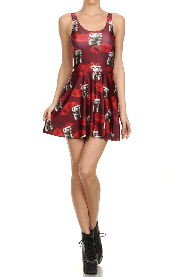 Lucky Cat Skater Dress - POPRAGEOUS  - 1