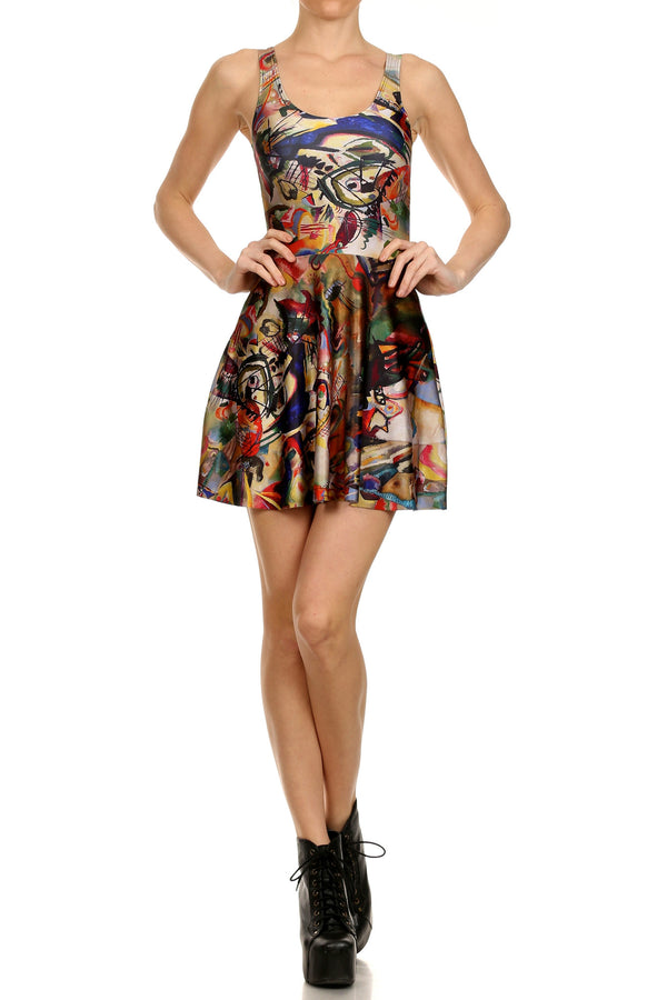 Kandinsky Skater Dress - POPRAGEOUS  - 1
