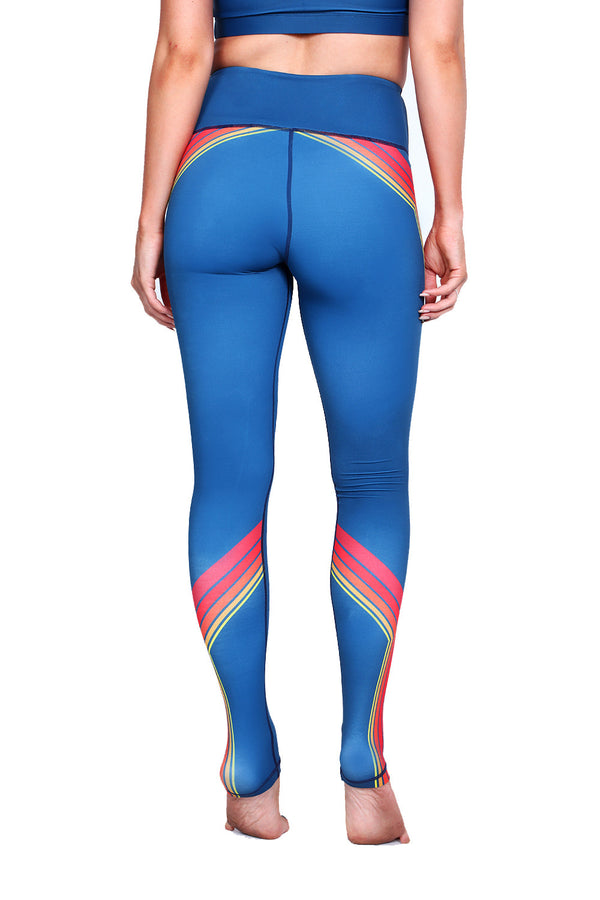 Retro Sunset Stripes Teal NFS Legging