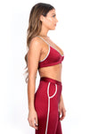 Maroon/Blush Track Sports Bra