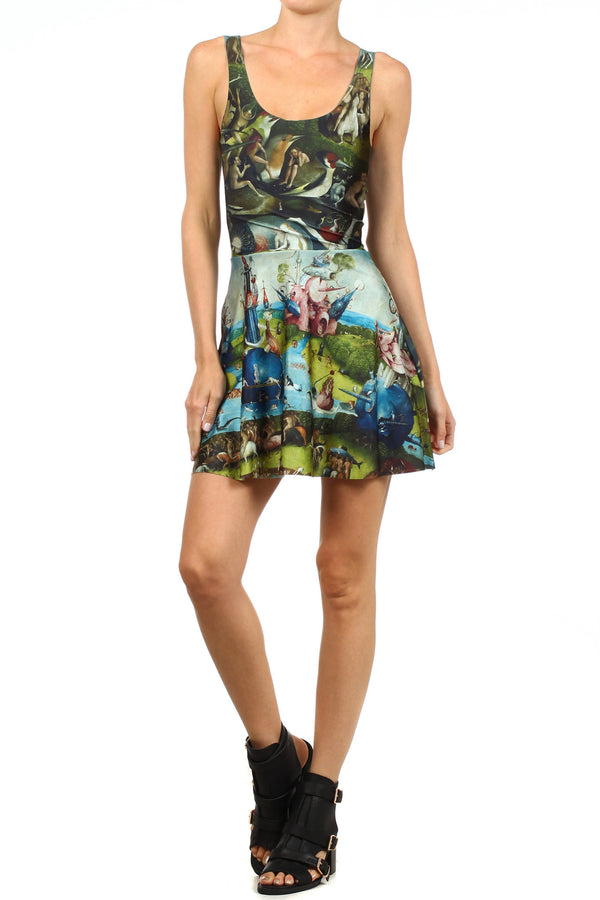 Garden of Earthly Delights Skater Dress - POPRAGEOUS  - 2