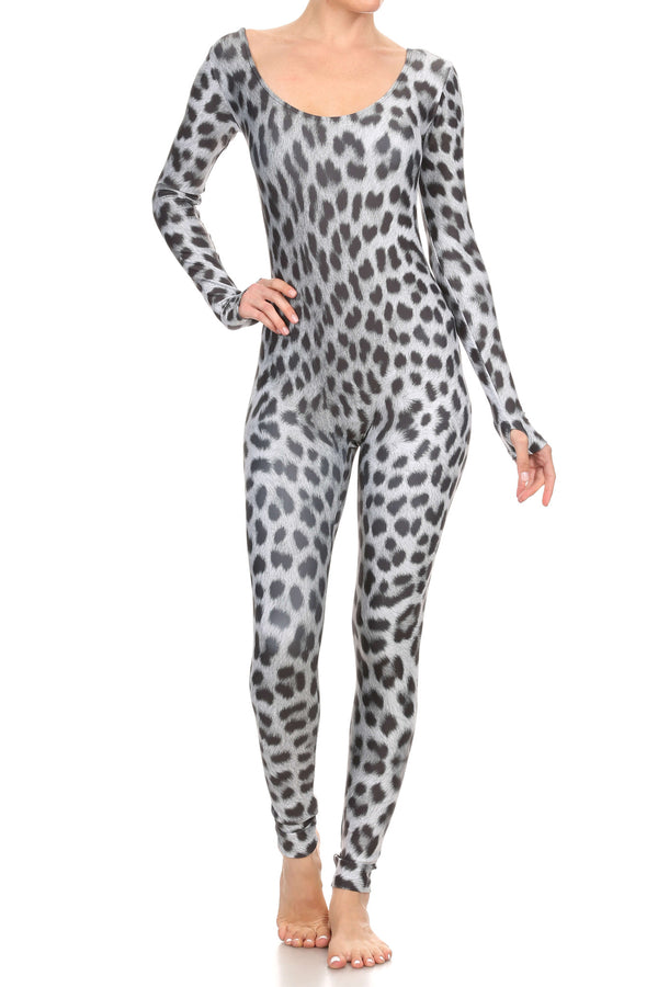 Snow Leopard Long Sleeve Catsuit - POPRAGEOUS  - 2