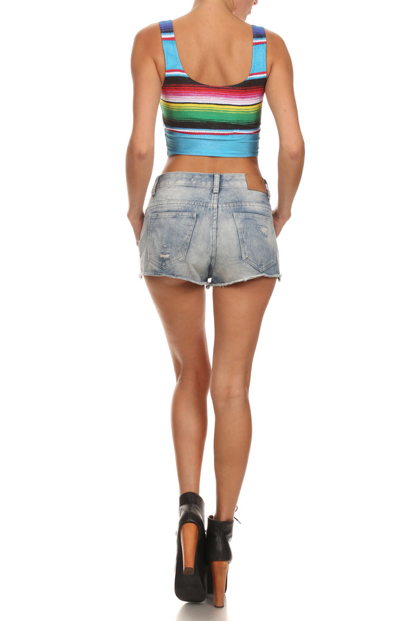 Mexican Blanket Crop Top - POPRAGEOUS  - 4
