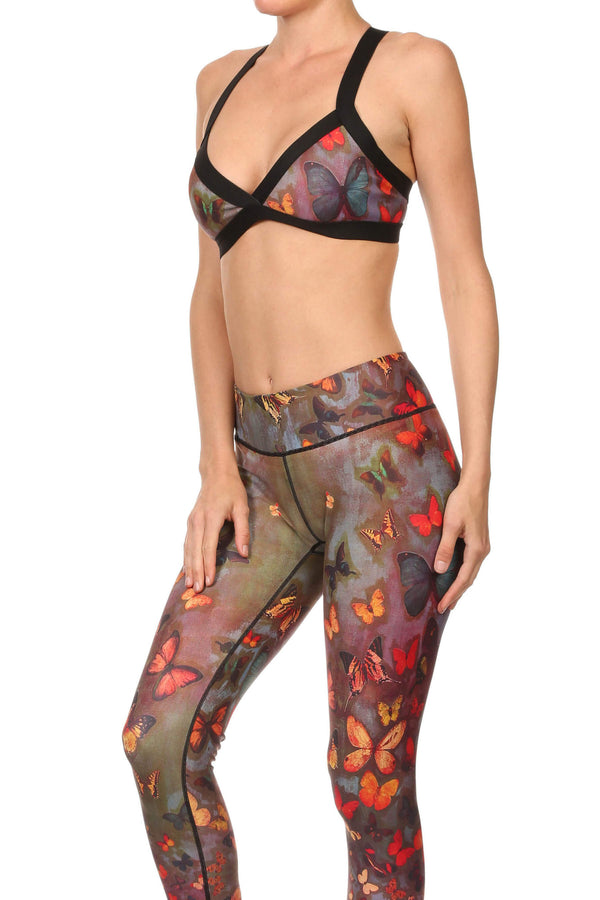 Fall Butterflies Jasmine Sports Bralette - POPRAGEOUS  - 2