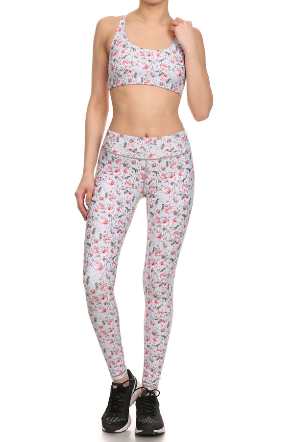 Vintage Floral Dream Leggings - Grey - POPRAGEOUS  - 4