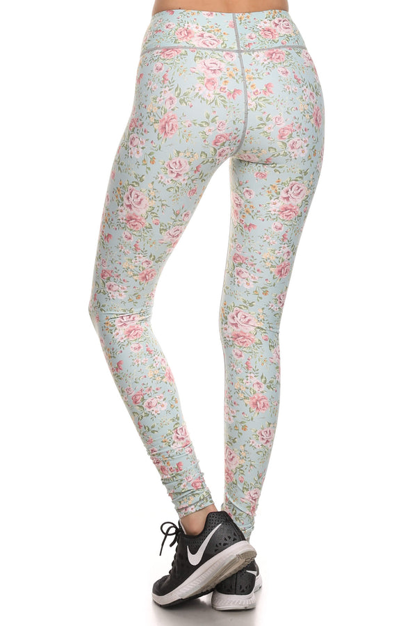 Vintage Floral Dream Leggings - Mint - POPRAGEOUS  - 3