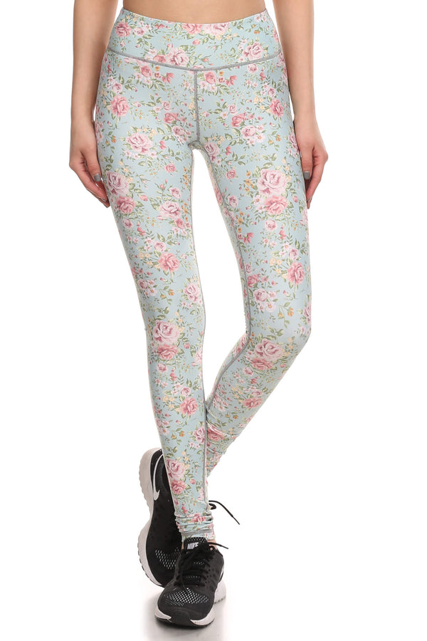 Vintage Floral Dream Leggings - Mint - POPRAGEOUS  - 1