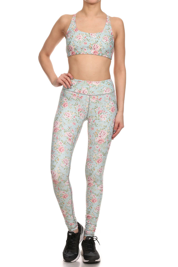 Vintage Floral Dream Leggings - Mint - POPRAGEOUS  - 4