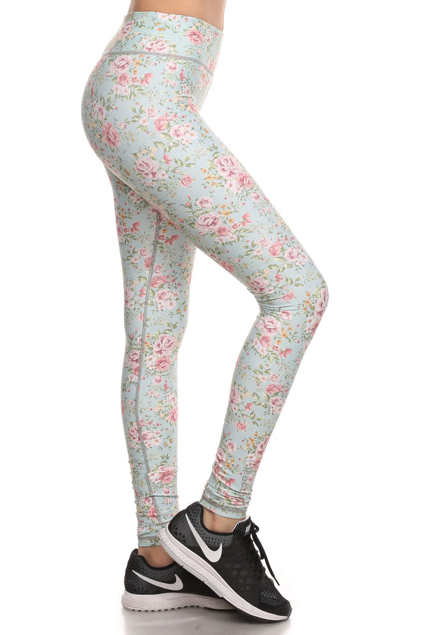 Vintage Floral Dream Leggings - Mint - POPRAGEOUS  - 2