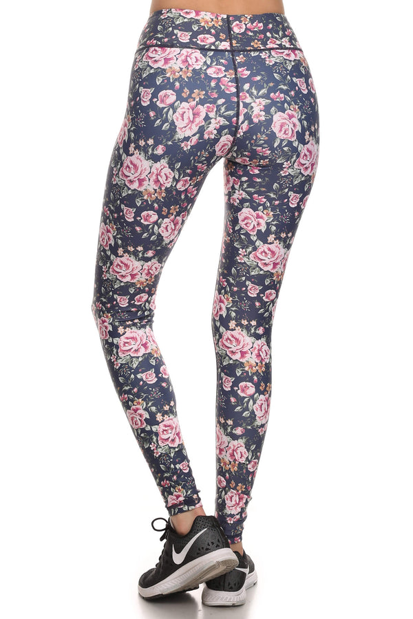 Vintage Floral Dream Leggings - Navy - POPRAGEOUS  - 3