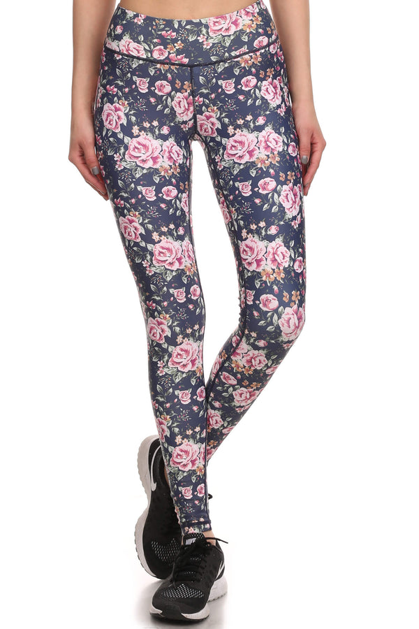 Vintage Floral Dream Leggings - Navy - POPRAGEOUS  - 1