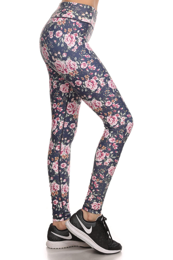 Vintage Floral Dream Leggings - Navy - POPRAGEOUS  - 2