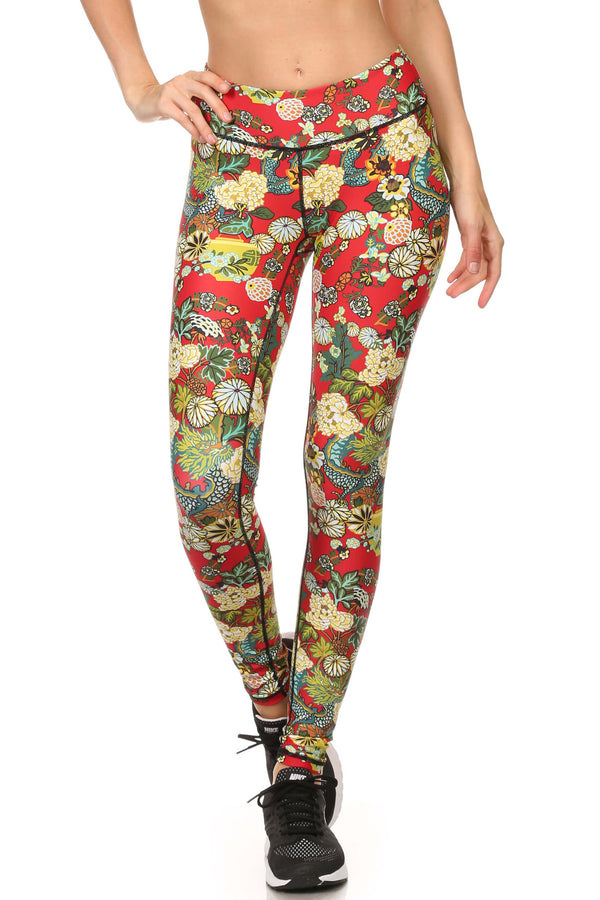 Hidden Dragon Dream Leggings - Vermillion - POPRAGEOUS  - 1