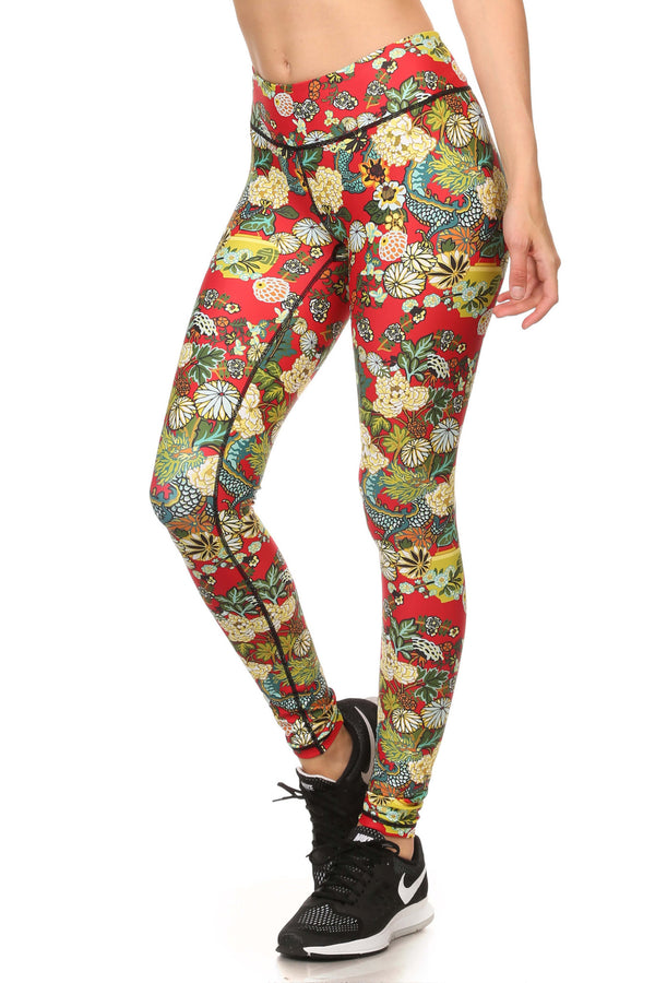Hidden Dragon Dream Leggings - Vermillion - POPRAGEOUS  - 2