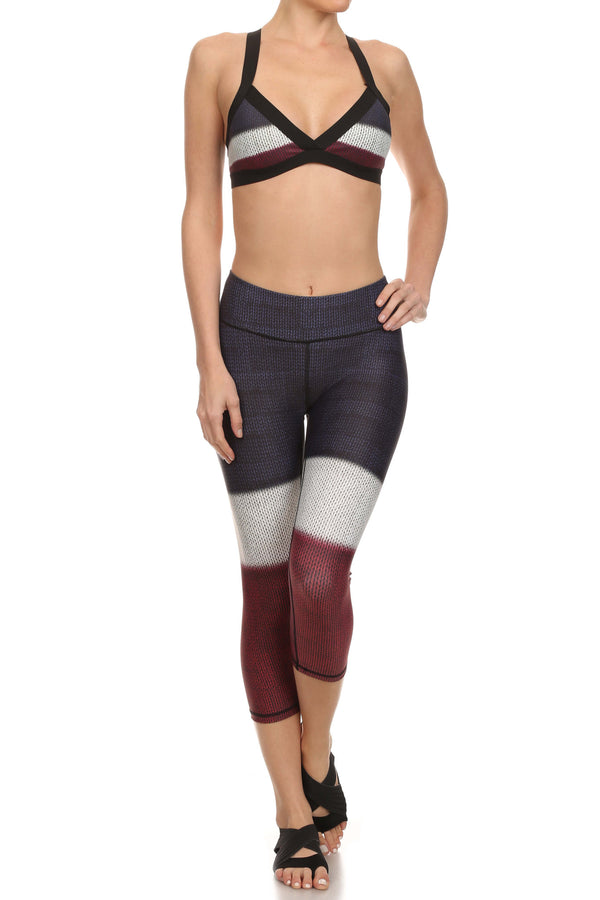 Color Block Jasmine Sports Bralette - Burgundy - POPRAGEOUS  - 3