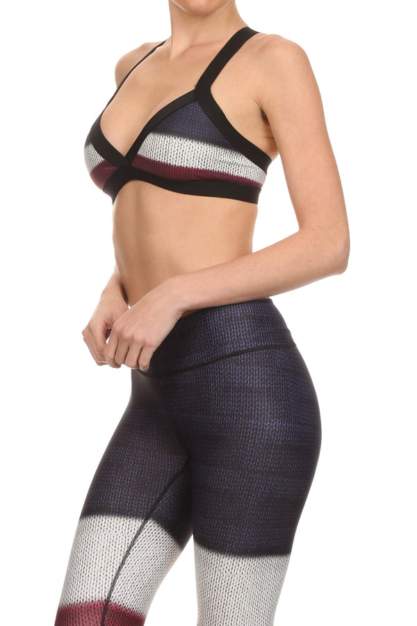 Color Block Jasmine Sports Bralette - Burgundy - POPRAGEOUS  - 2