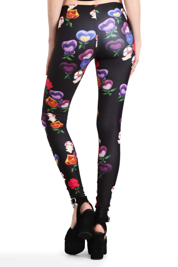 Dancing Mushrooms and Pansies Leggings - POPRAGEOUS  - 4