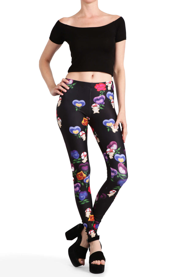 Dancing Mushrooms and Pansies Leggings - POPRAGEOUS  - 3
