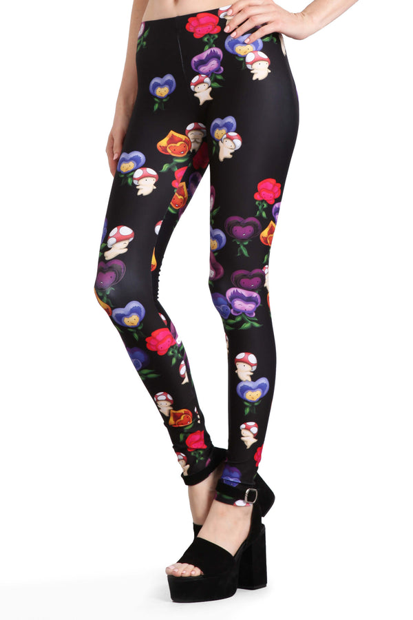 Dancing Mushrooms and Pansies Leggings - POPRAGEOUS  - 2