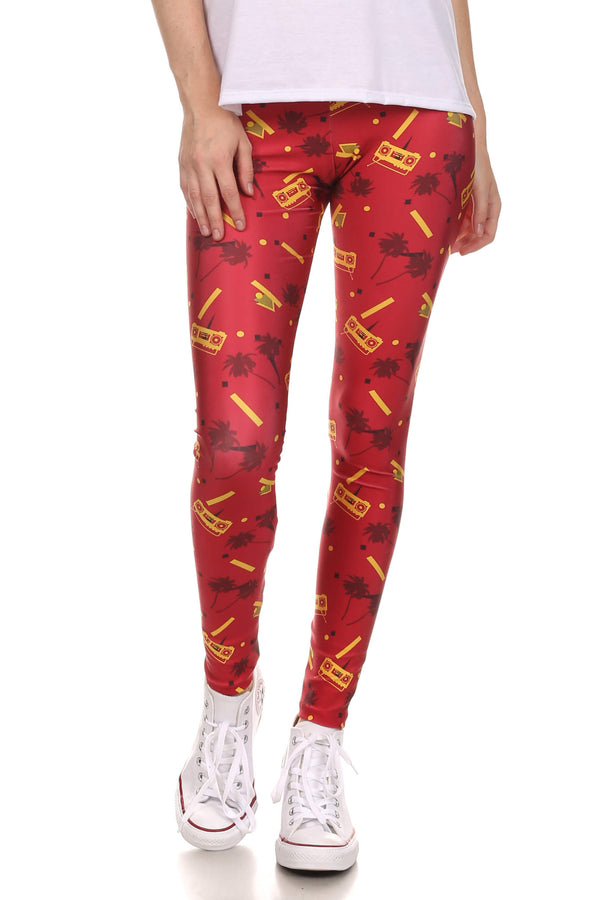 Socality Leggings - Red & Gold - POPRAGEOUS  - 1