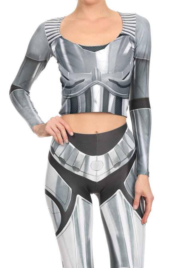 Robotic Long Sleeve Crop Top - Chrome - LIMITED - POPRAGEOUS  - 1