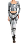 Robotic Long Sleeve Crop Top - Chrome - LIMITED - POPRAGEOUS  - 4