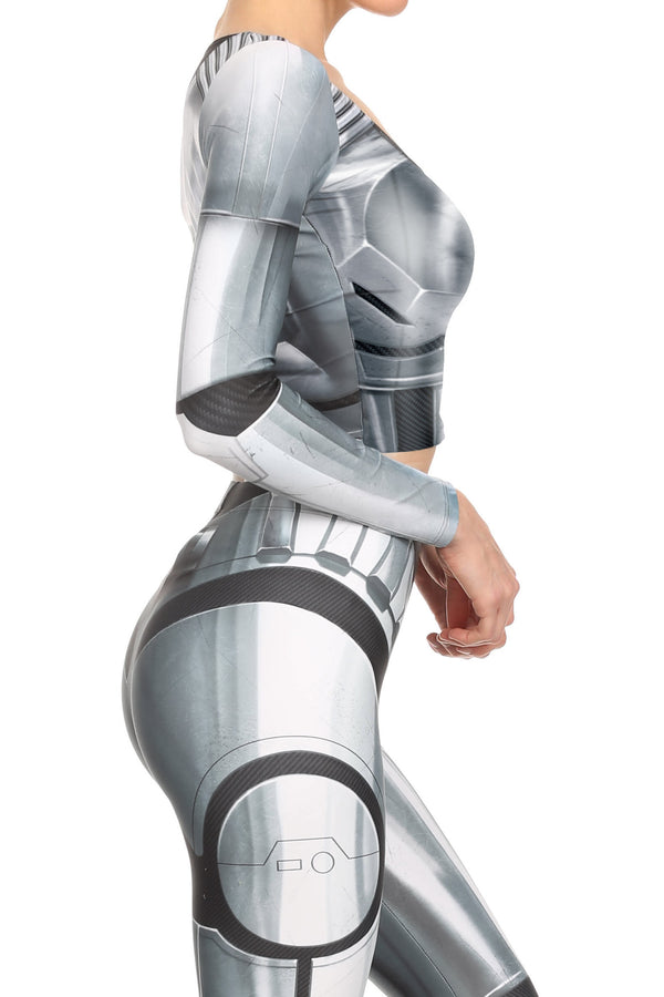 Robotic Long Sleeve Crop Top - Chrome - LIMITED - POPRAGEOUS  - 3