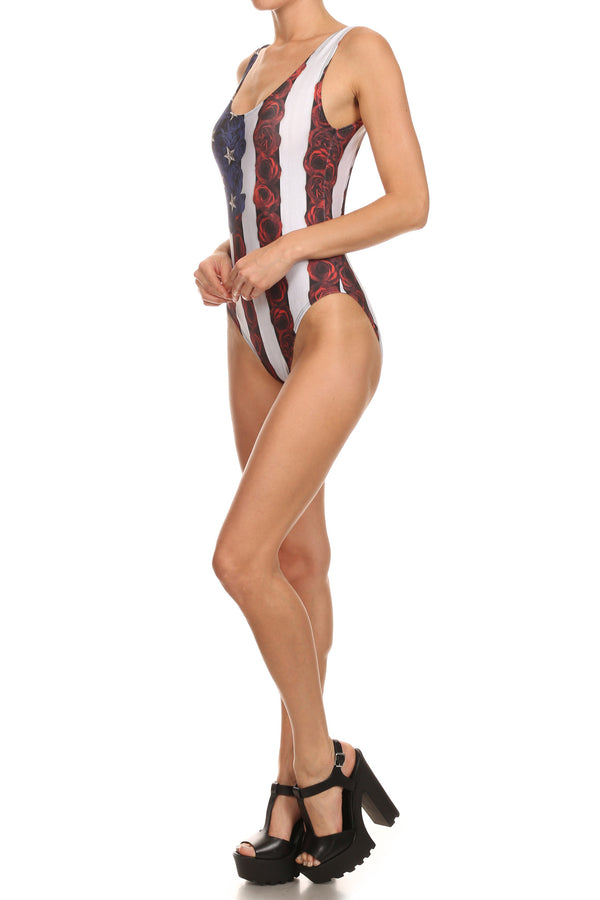 American Beauty Low Back Onesie Swim - POPRAGEOUS  - 2