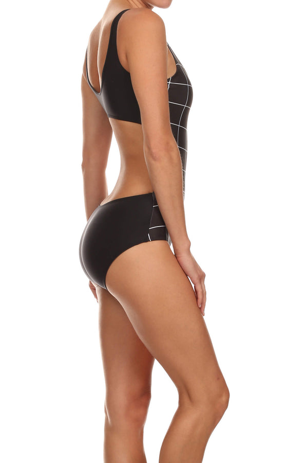 Black Grid One-Piece Swim - POPRAGEOUS  - 4
