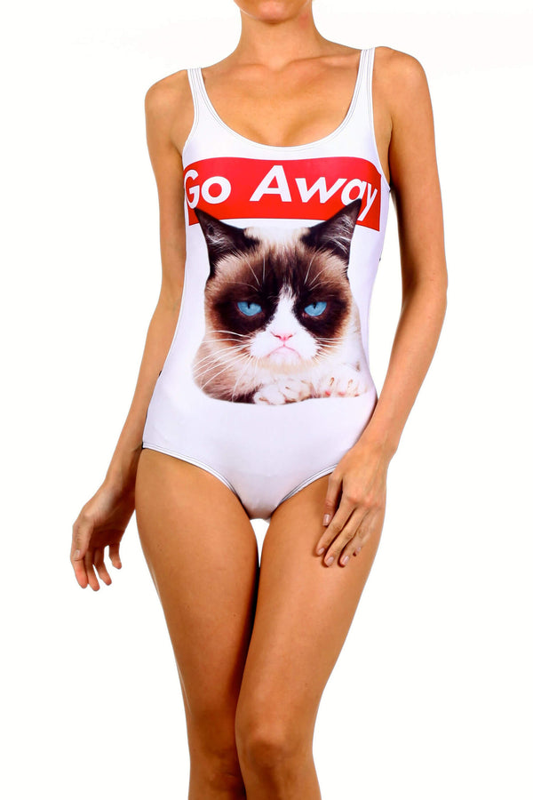 Grumpy Cat: Go Away One-Piece Swim - POPRAGEOUS  - 1